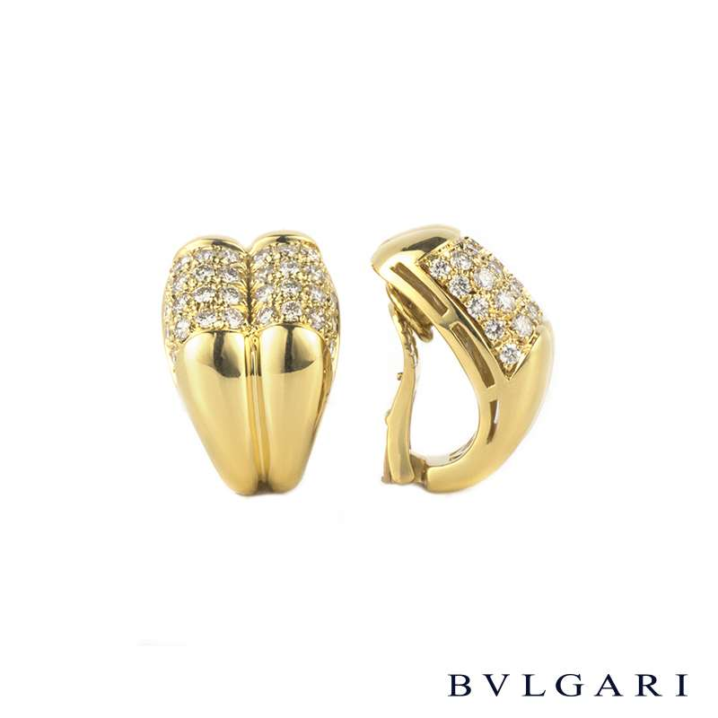 Bvlgari 18k Yellow Gold Diamond Set Earrings 3.00ct